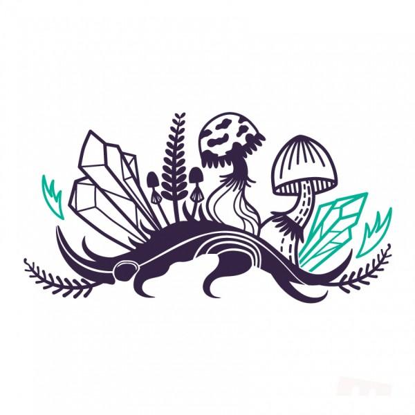 Větev, křišťál a houby